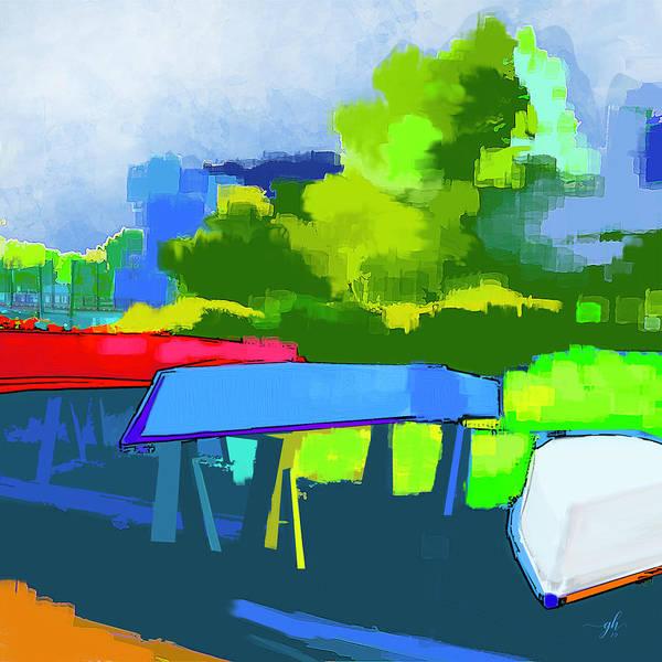 Digital Art - Along The Riverwalk by Gina Harrison