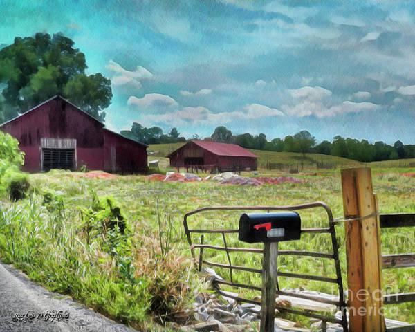 Digital Art - Along The Rural Road Old Barn In Tennessee II by Rhonda Strickland