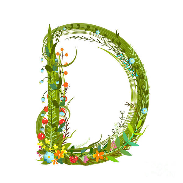 Wall Art - Digital Art - Alphabet Decorative Floral Letter D by Popmarleo