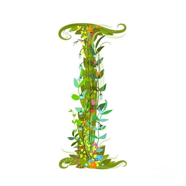 Write Wall Art - Digital Art - Alphabet Decorative Floral Letter I by Popmarleo