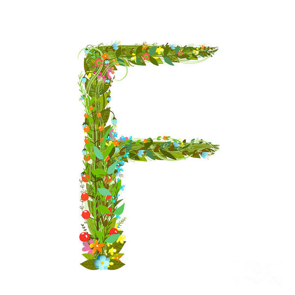 Wall Art - Digital Art - Alphabet Letter F Elegant Flower by Popmarleo