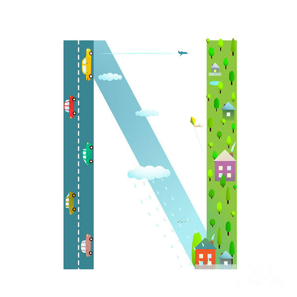 Wall Art - Digital Art - Alphabet Letter N Cartoon Flat Style by Popmarleo