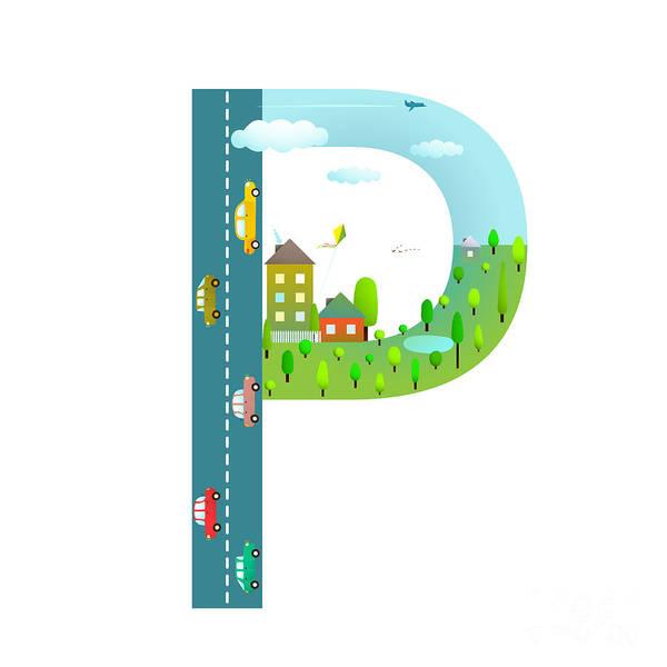 Cloud Type Wall Art - Digital Art - Alphabet Letter P Cartoon Flat Style by Popmarleo