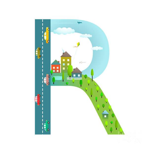 Cloud Type Wall Art - Digital Art - Alphabet Letter R Cartoon Flat Style by Popmarleo