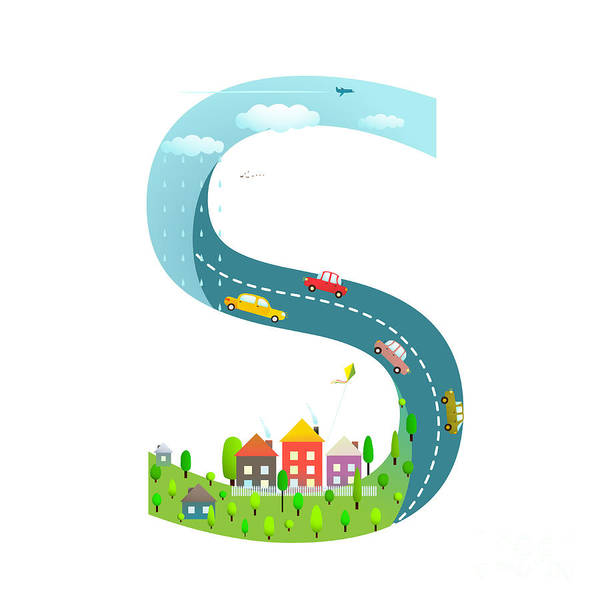 Wall Art - Digital Art - Alphabet Letter S Cartoon Flat Style by Popmarleo