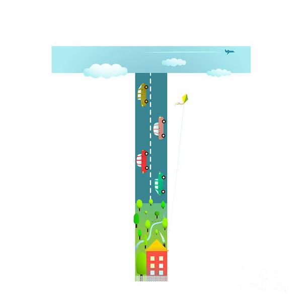 Cloud Type Wall Art - Digital Art - Alphabet Letter T Cartoon Flat Style by Popmarleo