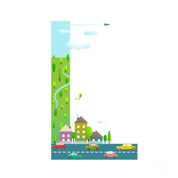 Cloud Type Wall Art - Digital Art - Alphabet Sign L Cartoon Style For Kids by Popmarleo