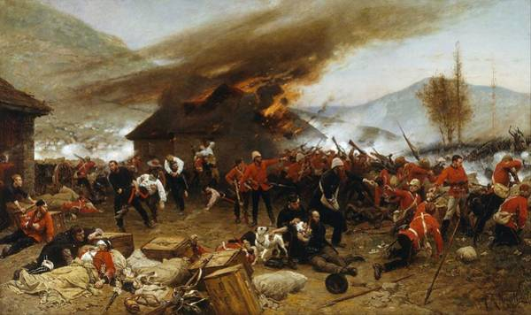 Wall Art - Painting - Alphonse De Neuville - The Defence Of Rorke S Drift 1879 by Celestial Images
