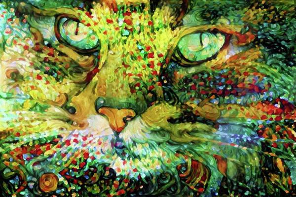 Digital Art - Alphy Cat Color Blast by Peggy Collins