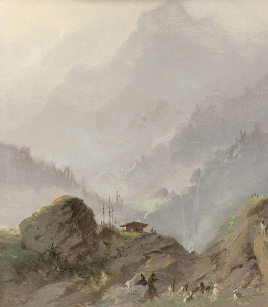 Painting - Alpine Landscape In Tyrol With Chamois Herd by Johannes Tavenraat