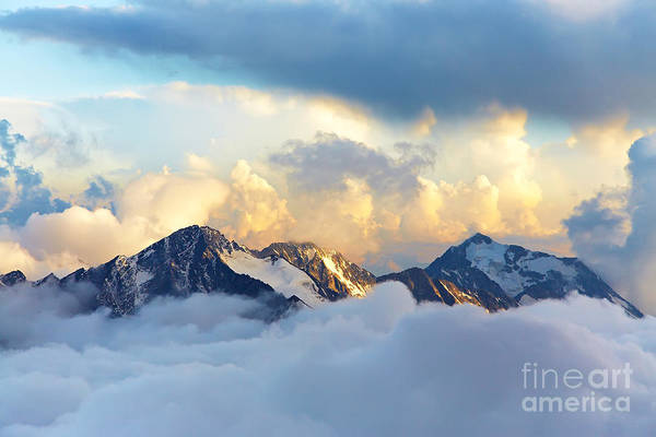 Wall Art - Photograph - Alpine Landscape With Peaks Covered By by Evgeny Bakharev