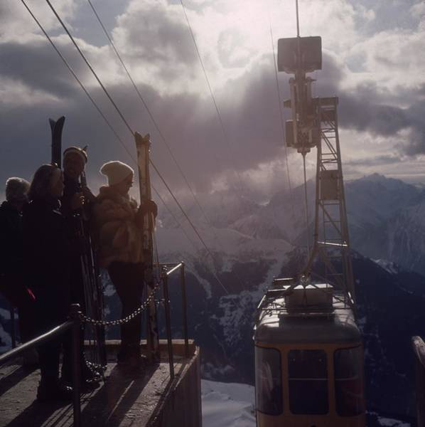 Mountain Photograph - Alpine Skiing by Slim Aarons