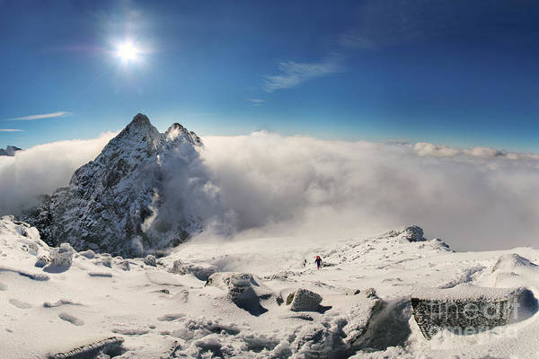 Wall Art - Photograph - Alpinist Climbing On Rysy Mountain Peak by Dmytro Gilitukha