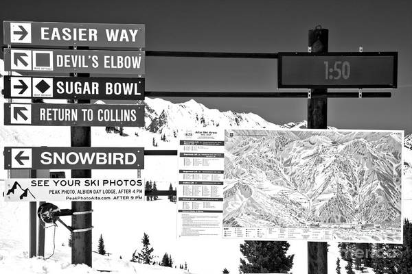 Photograph - Alta Nowbird Connection Black And White by Adam Jewell