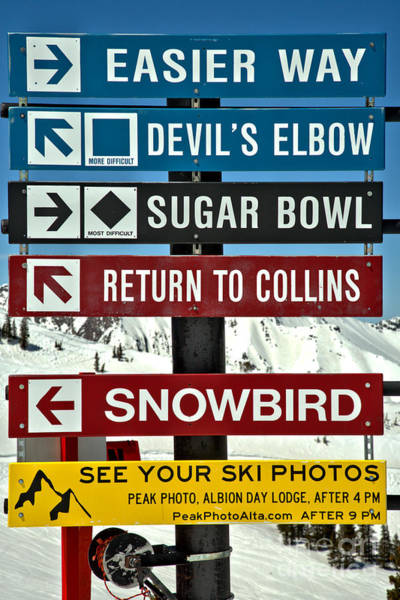 Photograph - Alta Snowbird Connection Directions by Adam Jewell