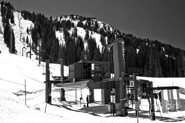 Photograph - Alta Wildcat Chairlift Black And White by Adam Jewell