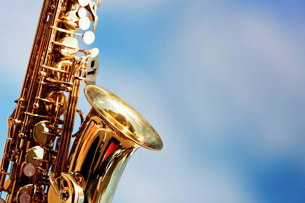 Rock Music Photograph - Alto Sax Close Up Against Sky With by Rapideye