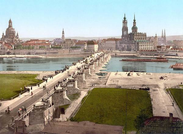 Wall Art - Painting - Altstadt  Old City  Dresden In The Late 19th Century. View From The War Ministry. Photochrom Print. by Celestial Images