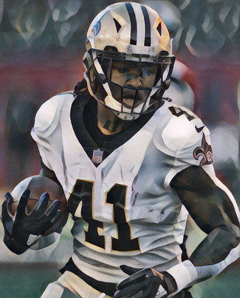 Wall Art - Mixed Media - Alvin Kamara New Orleans Saints Abstract Art 1 by Joe Hamilton
