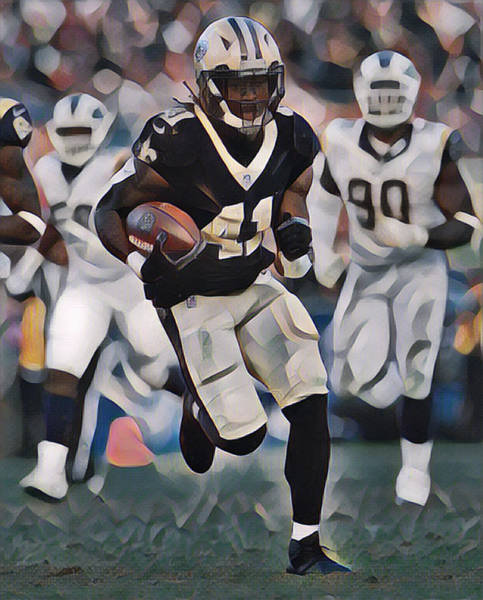 Wall Art - Mixed Media - Alvin Kamara New Orleans Saints Abstract Art 3 by Joe Hamilton