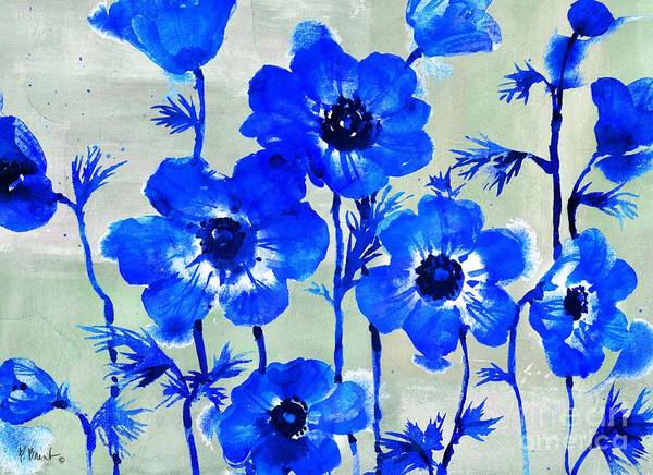 Wall Art - Painting - Amalfi Anemones - Blue by Paul Brent