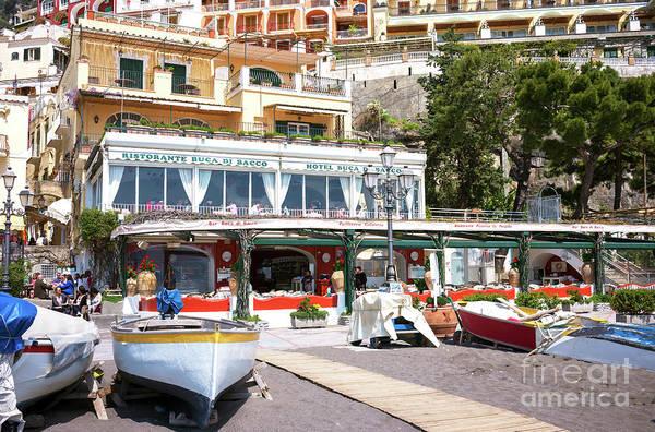 Wall Art - Photograph - Amalfi Coast Beach Dining In Positano by John Rizzuto