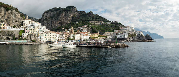 Wall Art - Photograph - Amalfi Town Seen From Ferry Approaching by Panoramic Images