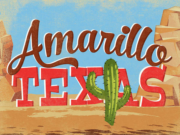 Amarillo Digital Art - Amarillo Texas Cartoon Desert by Flo Karp