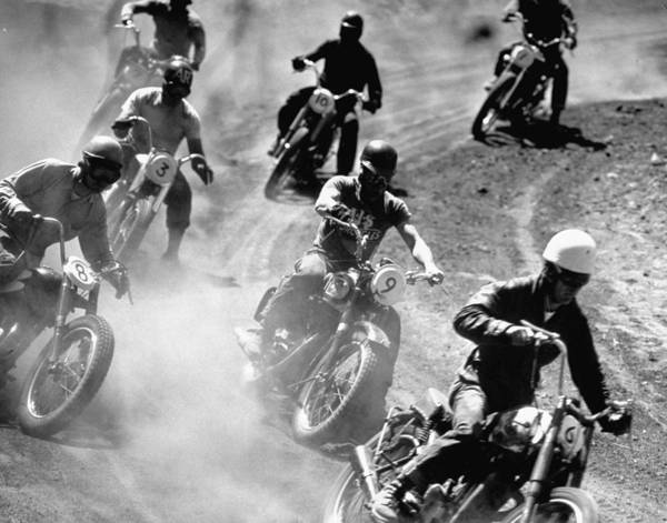 Photograph - Amateur Motorcycle Racers Kicking Up Clo by Loomis Dean