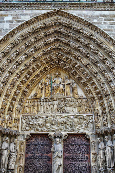 Wall Art - Photograph - Amazing Entry Architectural Details Cathedral Notre Dame De Paris France by Wayne Moran