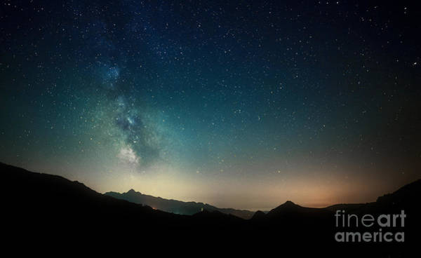 Wall Art - Photograph - Amazing Night Sky Stars Panorama With by Gianni Triggiani