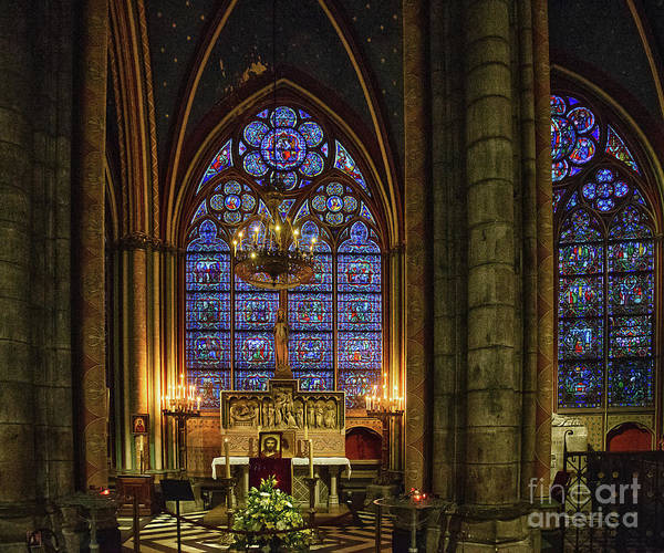 Wall Art - Photograph - Amazing Stained Glass Details Cathedrale Notre Dame De Paris France Before Fire by Wayne Moran