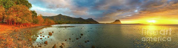 Wall Art - Photograph - Amazing View Of Le Morne Brabant At Sunset. Mauritius. Panorama by MotHaiBaPhoto Prints