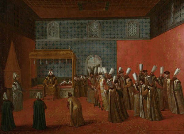 Painting - Ambassador Cornelis Calkoen On Audience With Sultan Ahmed IIi by Jean Baptiste Vanmour