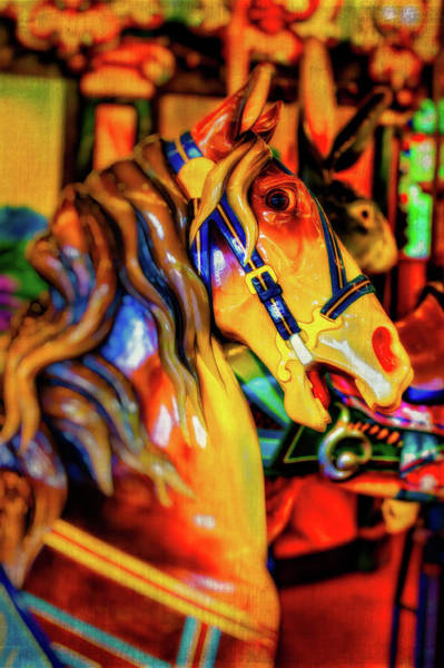 Photograph - Amber Carrousel Horse by Garry Gay