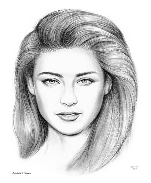 Actress Drawing - Amber Heard by Greg Joens
