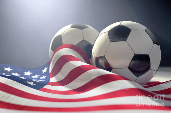 Wall Art - Digital Art - America Flag And Soccer Ball by Allan Swart