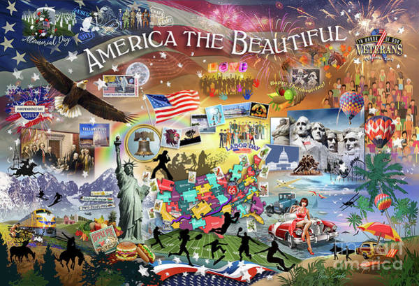 Declaration Of Independence Digital Art - America The Beautiful by Evie Cook