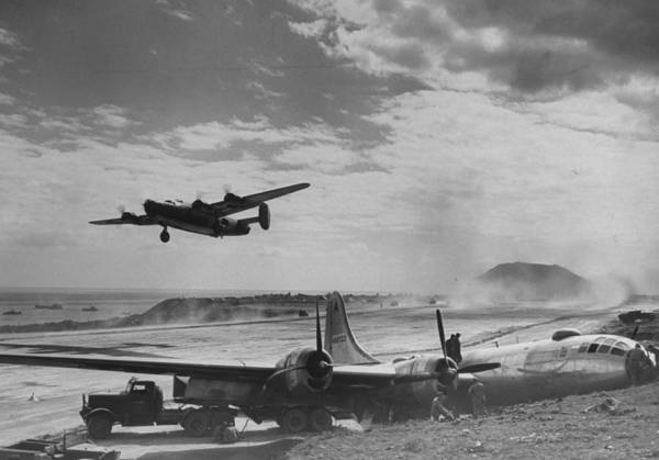 Superfortress Photograph - American B-24 Bomber Lifting Off From Ru by W. Eugene Smith