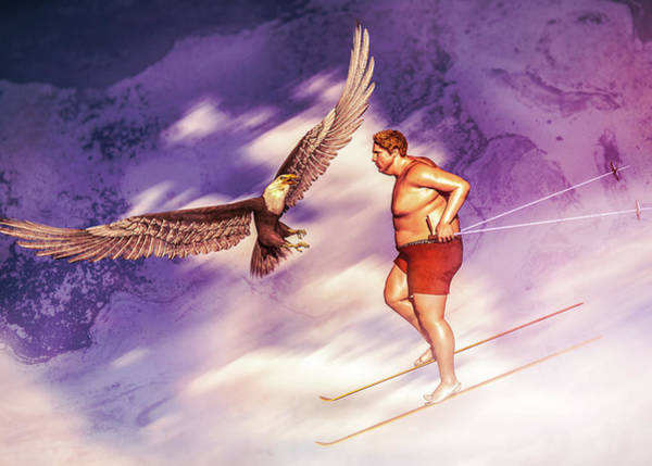 Digital Art - American Bald Eagle Vs Summer Skier by Bob Orsillo