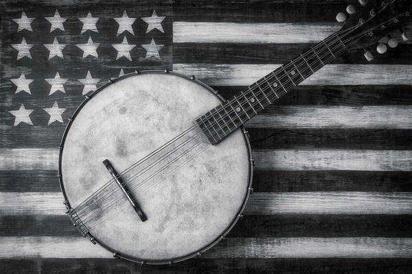 Bluegrass Photograph - American Banjo Black And White by Garry Gay