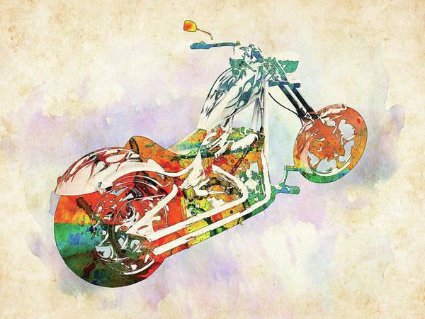 Chopper Wall Art - Digital Art - American Chopper Watercolor by Mihaela Pater