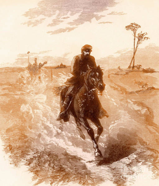 Wall Art - Drawing - American Civil War Union General Philip Sheridan Rides To The Front by Solomon Eytinge
