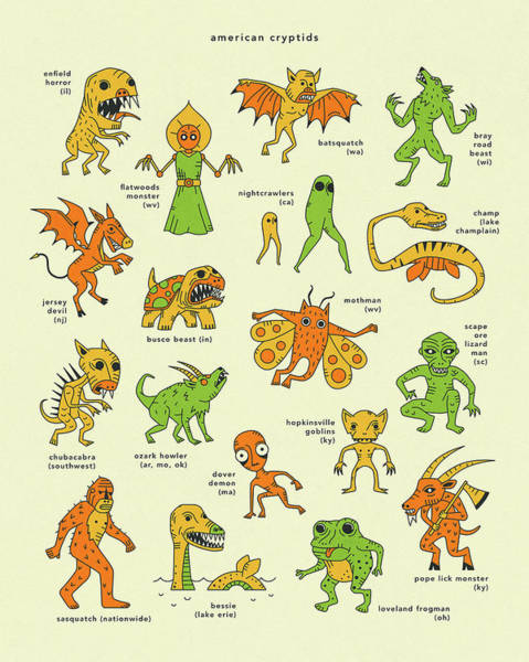 Wall Art - Digital Art - American Cryptids by Jazzberry Blue