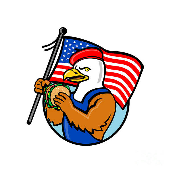 Wall Art - Digital Art - American Eagle Holding Burger And Usa Flag Mascot by Aloysius Patrimonio