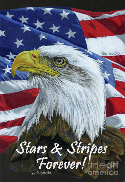 Wall Art - Drawing - American Eagle- Stars And Stripes Forever by Sarah Batalka