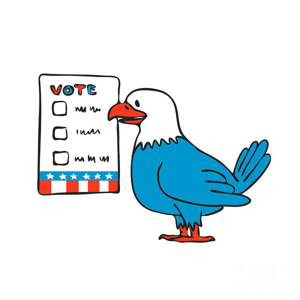 Wall Art - Digital Art - American Eagle Voting Election Ballot Drawing by Aloysius Patrimonio