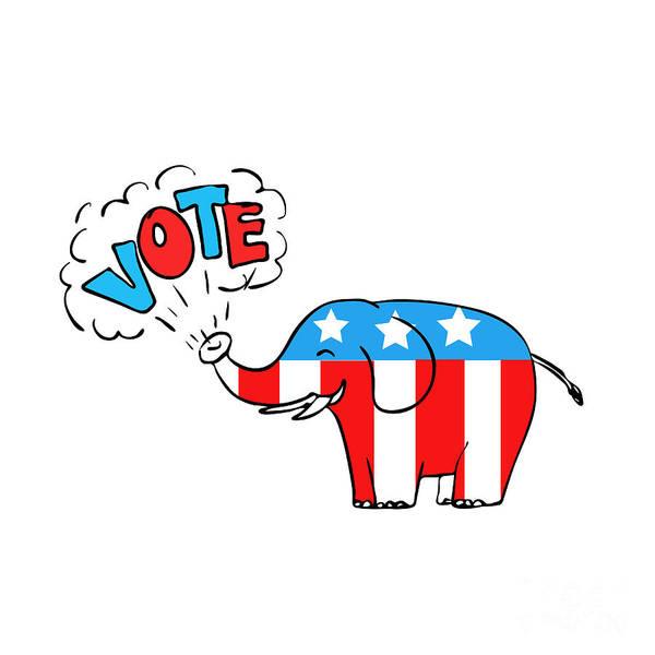 Presidency Digital Art - American Elephant Vote Drawing by Aloysius Patrimonio