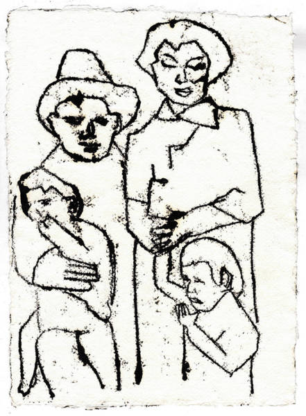 Drawing - American Family Black Oil Drawing by Artist Dot