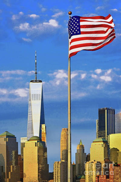 Wall Art - Photograph - American Flag And One World Trade Center by Regina Geoghan